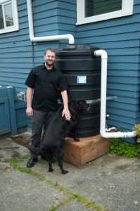 Scott gets two whole lawn-waterings from each full cistern, saving on the family's water bill.