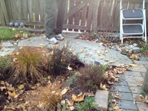 Steve's garden features a slab rock bridge.