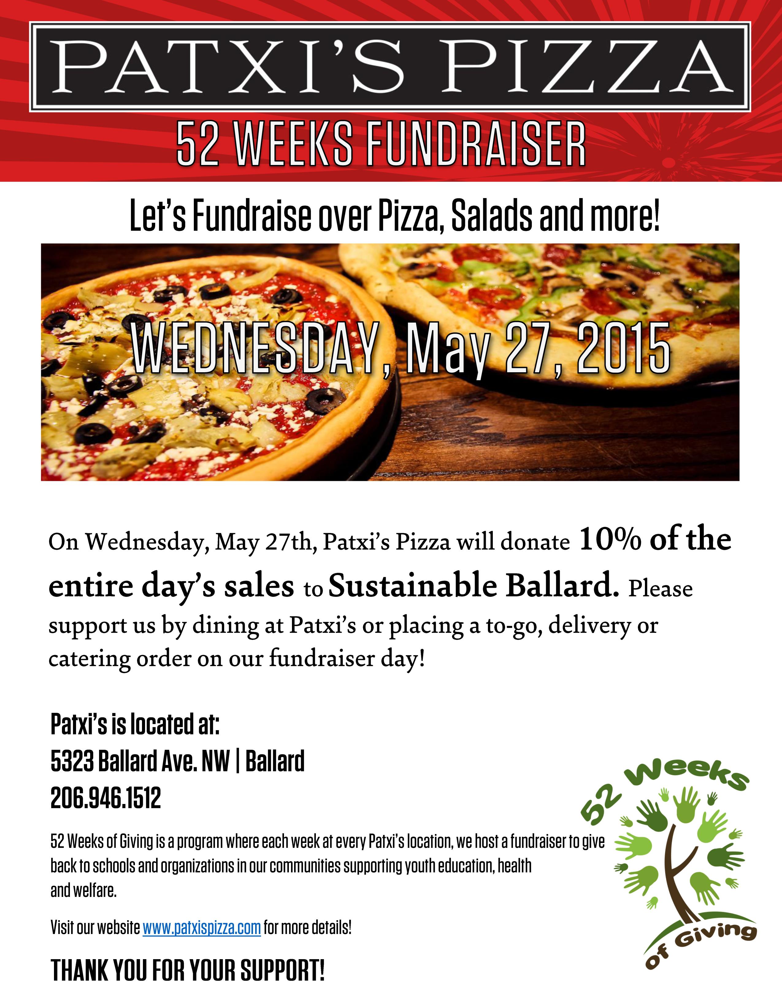 Fundraising @ Patxi's Pizza! – sustainable BALLARD
